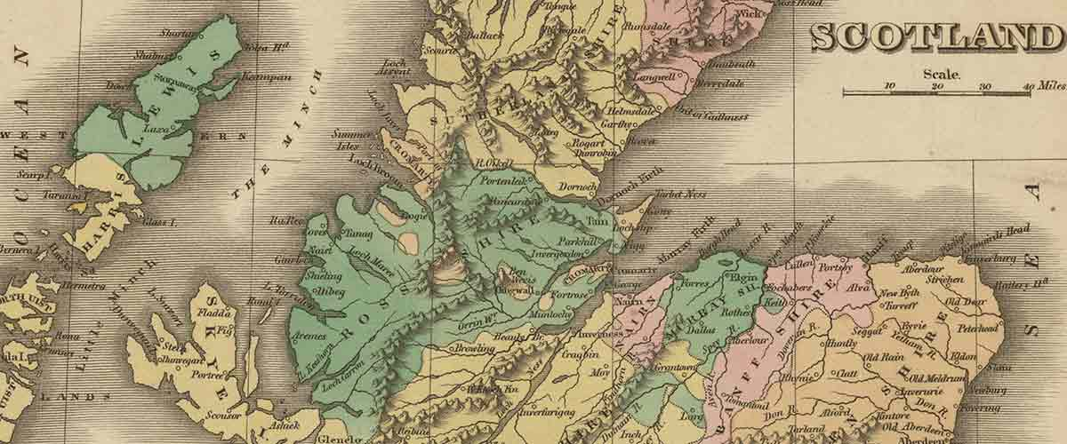 Detail from historic map of Scotland
